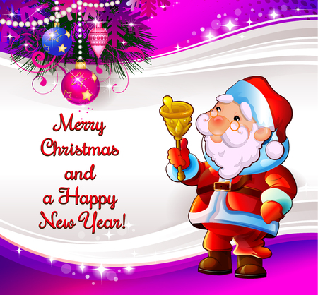 Merry Christmas and New Year. Santa with a bell. Illustration for the holiday. Background purple.