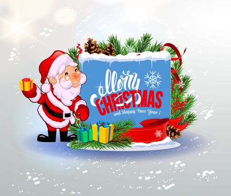 Merry Christmas and a Happy New Year. Congratulation. Santa with a gift. Gray background. Illustration.
