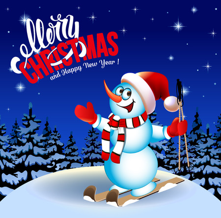 Merry Christmas and a Happy New Year. Congratulation. Winter landscape. Snowman on skis. Cartoon. Ultramarine background saturated. Illustration.
