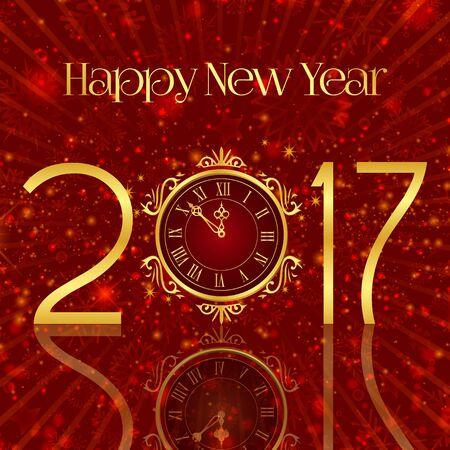Happy New Year. Golden symbols, clock, red background. Illustration.