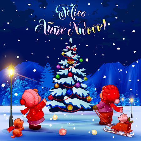 anno: Happy New Year. Felice Anno Nuovo. Congratulations in Italian. Illustration. Children in the park looking at the Christmas tree. Blue background. Illustration