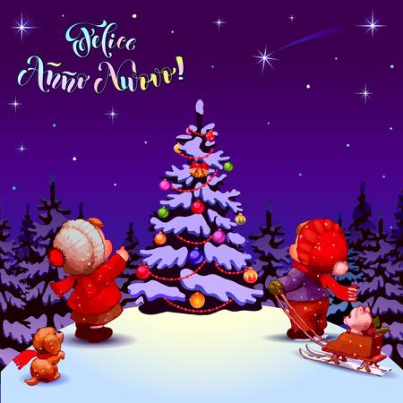 anno: Happy New Year. Felice Anno Nuovo. Congratulations in Italian. Illustration. Children near a Christmas tree. Purple background.