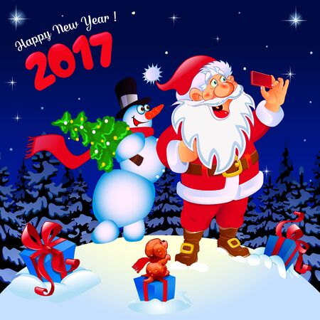 card making: Happy New Year. Congratulation. Santa and snowman making selfie. Gifts color blue. Poster, card. Dark background.