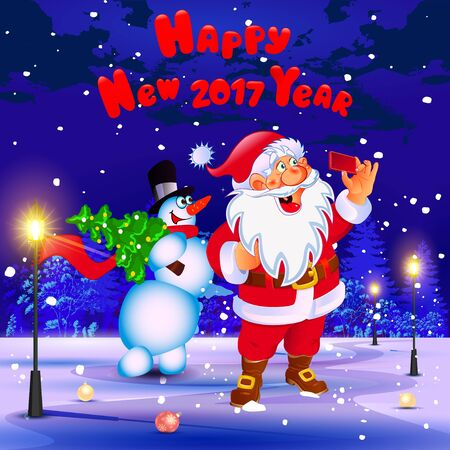 card making: Happy New Year. Congratulation. Santa and snowman making selfie in the park. Poster, card. Illustration