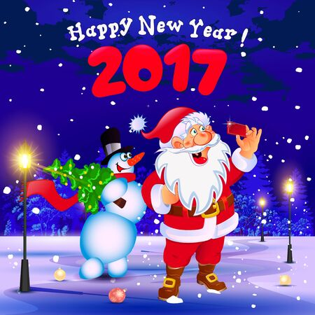 Happy New Year. Congratulation. Santa and snowman making selfie in the park.