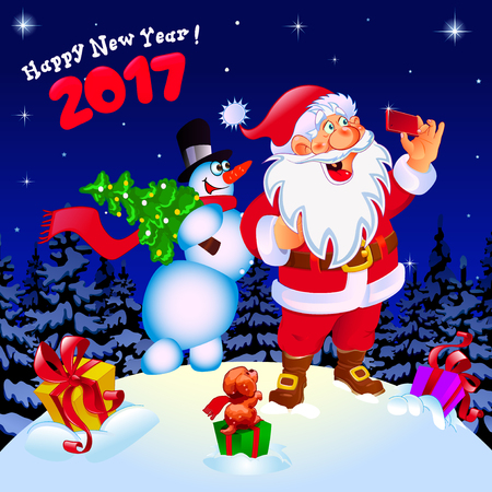 card making: Happy New Year. Congratulation. Santa and snowman making selfie. Gifts color yellow, green, pink. Poster, card.