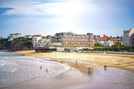 Biarritz beach city view, great design for any purposes. Sea sand sun. Sky blue background. Summer background. View scene. Фото со стока