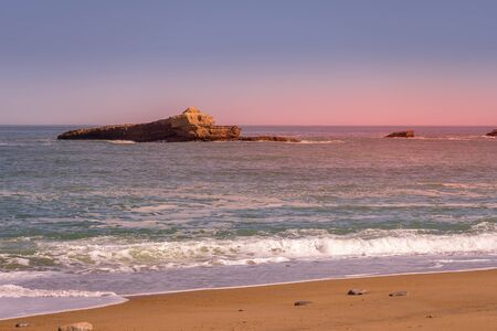 Beautiful colorful sunset in Biarritz sea background. colorful sunset in Biarritz sea background. High quality photo
