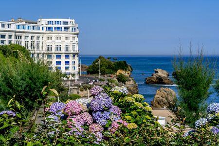 Soft focus. Beautiful Biarritz Atlantic ocean beach city. City skyscraper, downtown. Vacation, holiday. Scenic travel background. View scene.