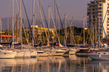 Cagnes-sur-mer, 22.07.2020. Yacht club in the evening. Mediterranean coast. Hight quality photo 版權商用圖片
