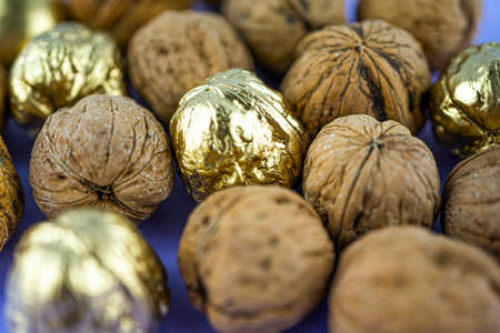 Mixture of walnuts and colored in golden color walnuts on a blue background. Selective focus 版權商用圖片