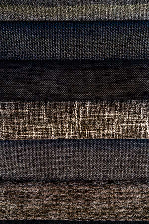 Collection of fabric in dark gray shades. Fabric sample. Multicolor Fabric texture background. High quality photo
