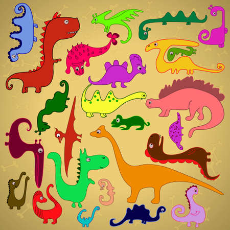 Painting illustration of multicolored dinosaurs Vector