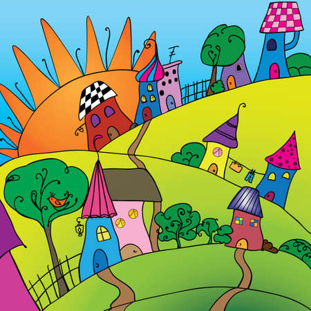 Illustration of village with houses, trees und sun Vector