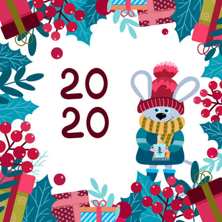 2020 New Year mouse. Christmas postcard, background with cuty character mouse in a hat and gifts with hot mag in the arms Illustration