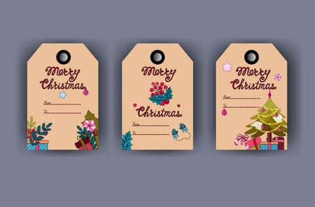 Christmas tags with lollipops, gifts, mittens and Christmas tree. Craft background. Vector illustration. Illusztráció