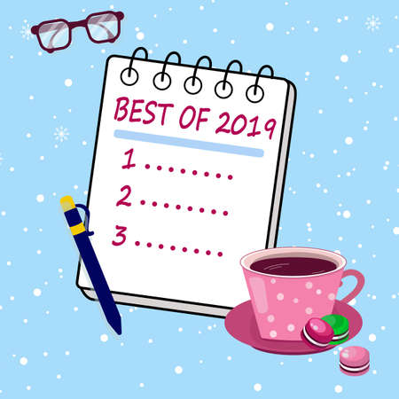 Review of 2019, best of the year. Report with results outgoing year. Summing up the year in cozy atmosphere. 일러스트