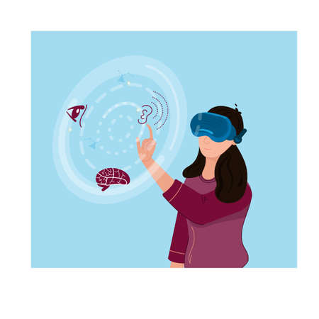 Healthcare Professional with Virtual Reality Goggles Experiencing Life of Patients with Disabilities like Vision, Hearing, and Cognitive, with VR Technology Illustration