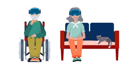 Virtual Reality hilft Patienten – VR-Technologie zur Linderung chronischer Schmerzen, Demenz, Alzheimer und anderen psychischen Problemen Vektorgrafik