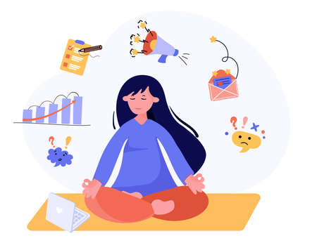 Office worker meditate for stress reduce, calm down and relax. Businesswoman is meditating in yoga pose. Mindfulness concept in vector illustration