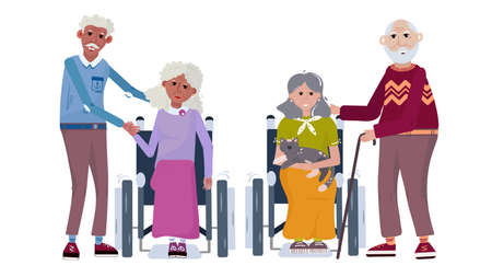 Set old couple black and white. Happy elderly people help each other. Group of seniors in cartoon flat style. Aged people standing and sitting in wheelchair.