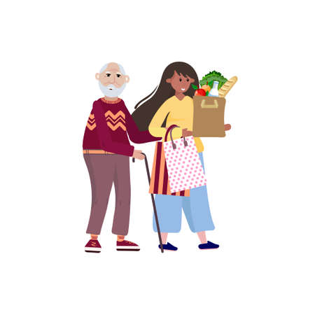 Volunteer helping old man carry products. Social worker takes care about senior man and goes to the shop. Caregiver helps elderly with grocery