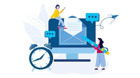 Message électronique, concept de service de messagerie de développement. Une femme écrit un nouveau message dans un ordinateur et le met dans l'enveloppe. Pour la bannière, le site Web, la page de destination, l'illustration vectorielle.