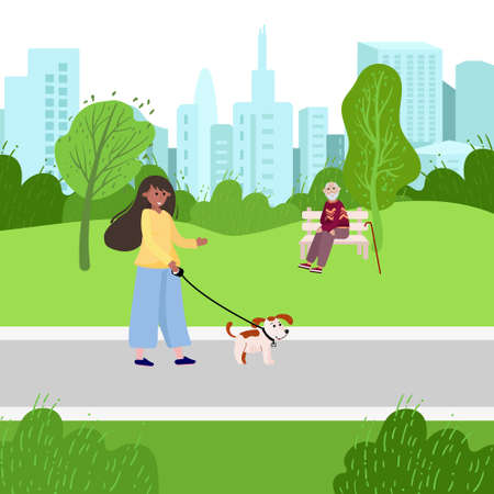 Volunteer helps elderly man walk with his dog in the park. Social worker with dog, old man sit on the bench. Healthcare vector flat illustration