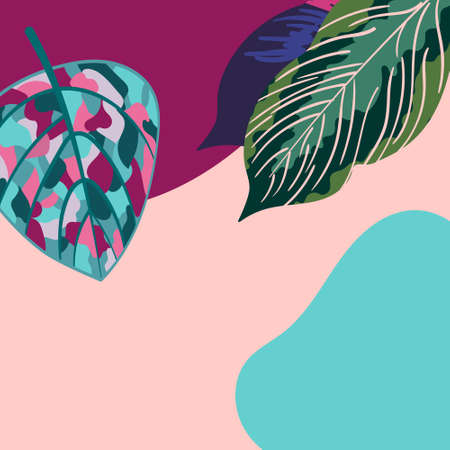 Palm, tropical leaves in abstract style for social media background. Hawaiis exotic landscape in moden style. Trendy jungle wallpaper for decoration social media stories.  イラスト・ベクター素材