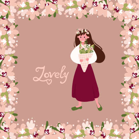 Brunette with flowers in the hair. Pretty woman with bouquet of field flowers is standing. Lovely phrase, lettering. Beige background with floral frame. Standard-Bild - 140344995