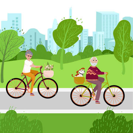 Old couple on the bicycles in the park with dog. Senior family spend time outside for healthy life. Activity time for aged people on bikes. Good exercises for urban husband and wife in vector.