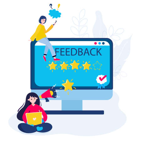 Clients give best, five stars review for good service. Customer rating in marketing. Excellent feedback in application. Concept of good quality business survey. Woman is writing in support. 向量圖像