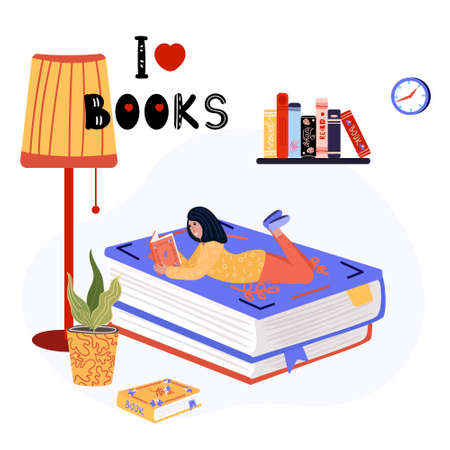Woman is lying on the stack of books, near standing lamp. Literature fan on the big books is reading. Student studying with textbook. Smart lady is on the giant books, on the wall shelf with books. Ilustração