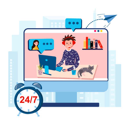 24 hour customers support online service. Operator works in helpdesk from home office. Man talks with client from home. Male in headset with microphone talks with woman. Agent helps client