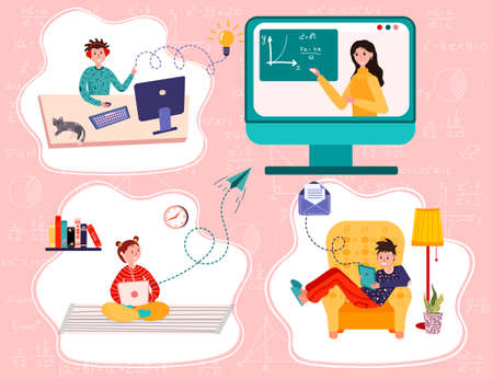Distance study at school. Students study from their home. Online education. Boys and girls sit home and have lesson using computer, laptop, tablet. E-learning vector flat illustration