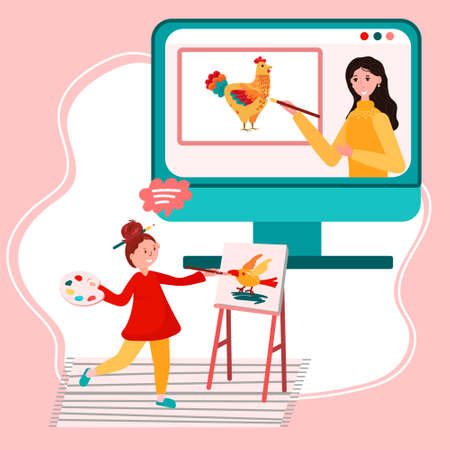 Online education. Distance study at school. Student from home has art class. Teacher is teaching how to paint through the computer monitor. Girl learns to draw in painting class