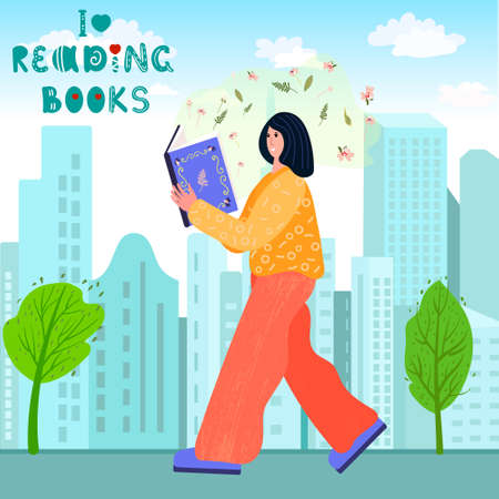 Gigantic Woman is walking in the city and read book. I Love reading books phrase. Female study literature with pleasure. Outdoors walking and enjoy novel. Book Fair vector concept