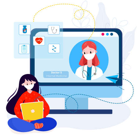 Virtual doctor meeting with patient from home for therapy, diagnose, pills. Ilustracje wektorowe