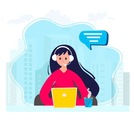 Customer service from home office. Remote work in hotline. Woman works in call center. Girl in headphones is learning language online. Operator is in help desk with headphone and microphones.