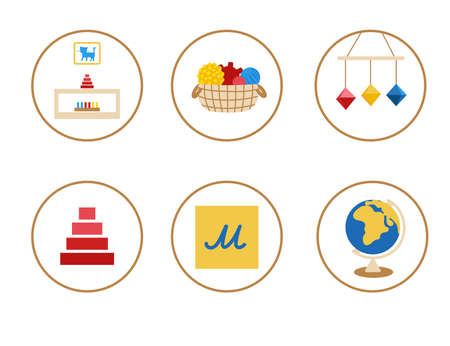 Icons with toys for preschool, kindergarten, web, school, blog. Elements with sensory materials: pyramid, animal silhouette, baby mobile, basket with balls, rough letters, globe.