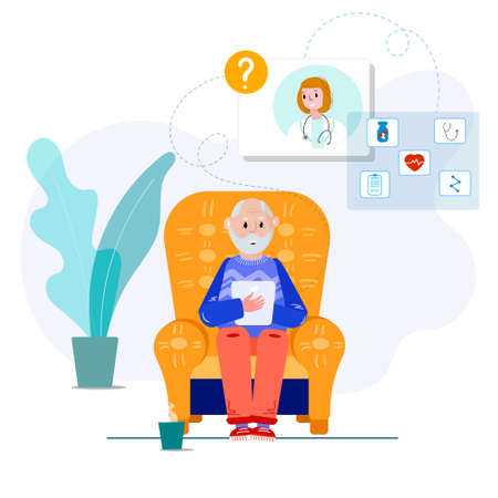 Doctor makes diagnosis online. Virtual consultation Senior with therapist. Old man has distant visit to doctor using tablet. Telemedicine patient with doctor for treatment