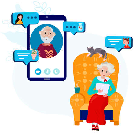 Old woman is calling old man from home. Aged couple has video conference using cellphone. Elderly friends stay home and have online communication using tablet and remember their life and share news
