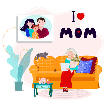 Family call aged Mother to congratulate her with Happy mothers day. Phrase I Love MOM for Mommy day. Old woman has distant call with son, his wife and grandkid in her Birthday. Senior sit in cozy sofa Ilustração