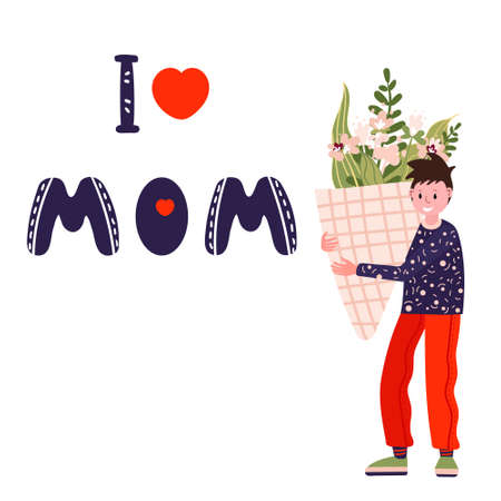 Happy Mothers Day. Boy with big bouquet of flowers. Phrase I Love MOM for card, banner, web. Son go to congratulate Mommy on her Birthday.