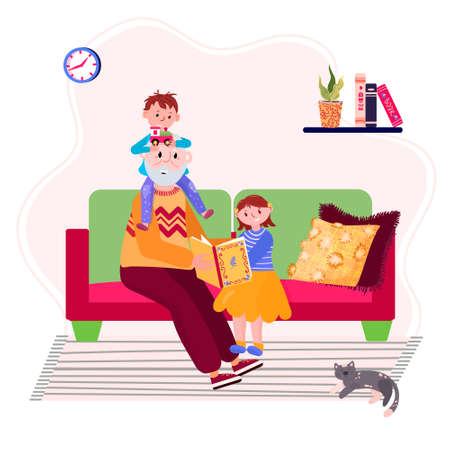 Grandfather read book to granddaughter and grandson. Grandpa with grandkids is sitting in sofa and tell story. Elder read grandchildren fairy tale. Senior with boy and girl stay home and spend time. Illustration