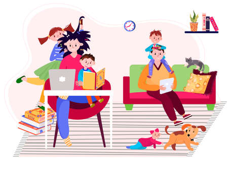 Tired family stay home and have distant work during pandemic. Young parents with sons and daughter have remote job. Online business with kids in quarantine. Mother study online, father is freelancer