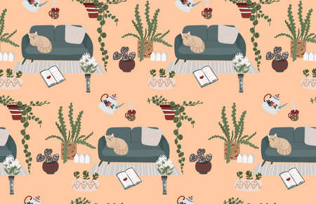 Pattern Living room with cozy interior. Seamless with houseplant, succulent in pot,cat sleeping in sofa. Vintage home decor with teapot of flowers and leaves, vase with chamomile. Vector illustration
