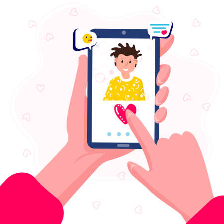 Online dating applications. Woman hold phone in hand. Screen with man profile. Female call her boyfriend. Concept of long distance, virtual relationship. Distant romantic acquaintance