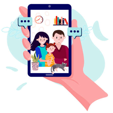 Video calling with couple and kid. Hand is holding phone with man, woman and daughter. Video conference with grandparents or friends. Family chat using cellphone Ilustracja