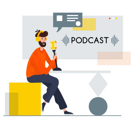 Blogger sitting in abstract chair and record Podcast. Live streaming. Man in headset with microphone broadcasting. Vlogger vector character. Male Radio host